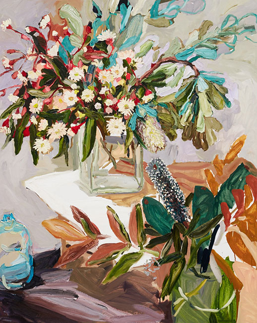 Flowering gum and striped cloth by Laura Jones at Olsen Gallery