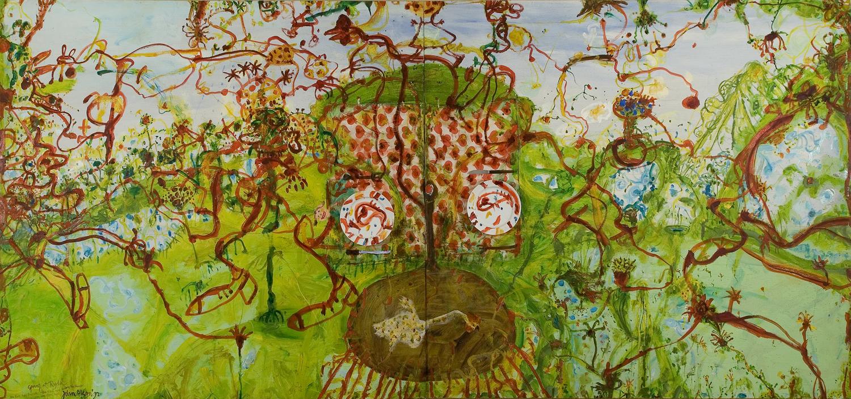 Onkaparinga Hill, Blue Wren & Fox, SA by John Olsen at Olsen Gallery