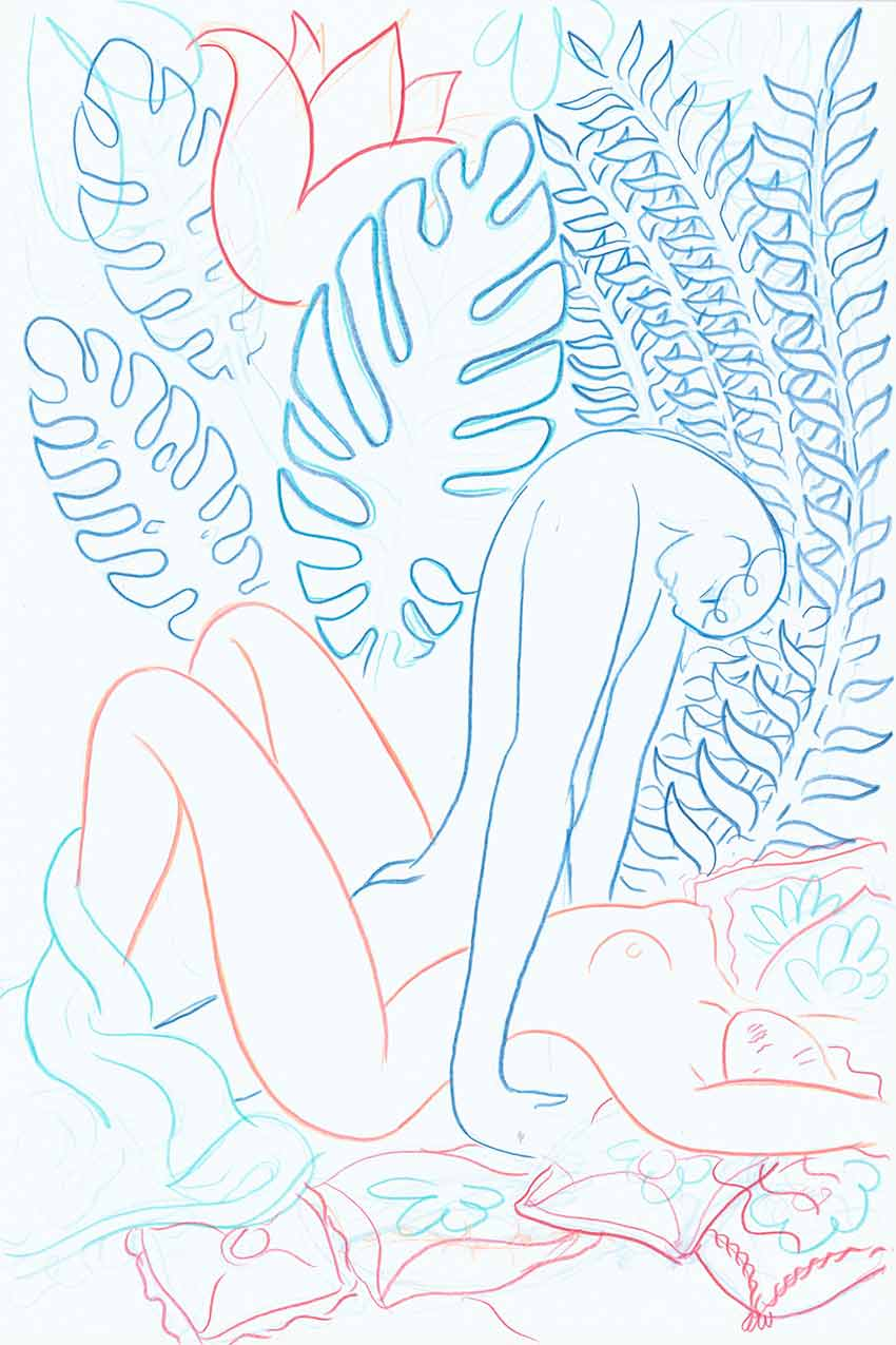 Deep Powerful Prayer (blue and peach) by Alphachanneling