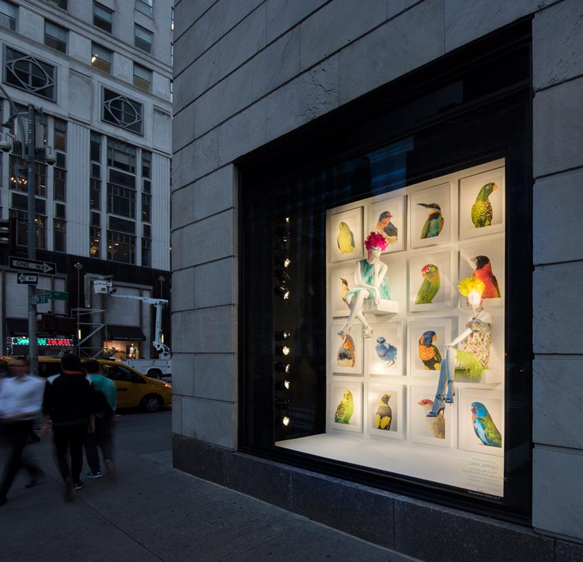 Installation Feathers Pair with Fashion at Bergdorf by Leila Jeffreys