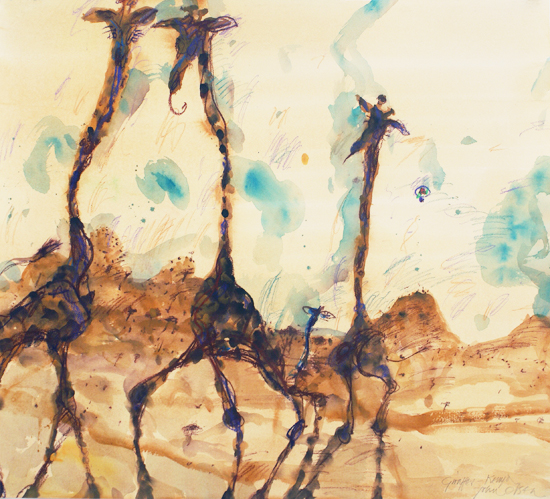 Giraffes at Mt Kenya II by John Olsen at Olsen Gallery